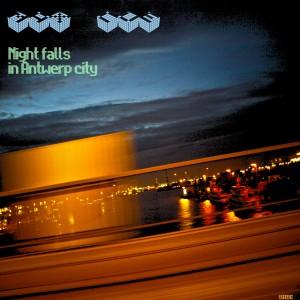 Night falls in antwerp city